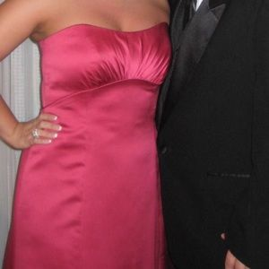 David's Bridal Full-Length Watermelon Pink Gown 12